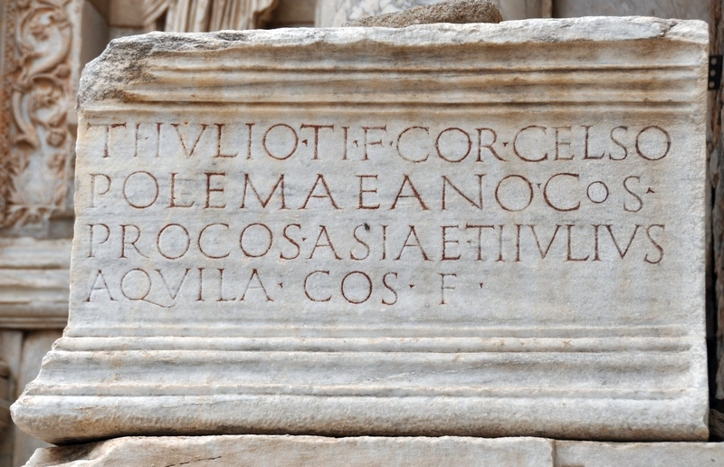 Ephesus, Library of Celsus, Latin inscription