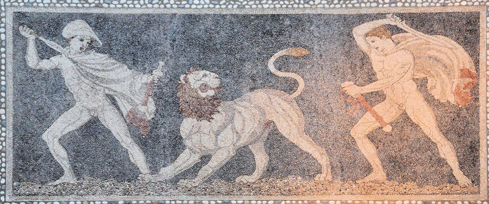 Pella, House of the Lion Hunt Mosaic, Mosai of Craterus and Alexander during a lion hunt.