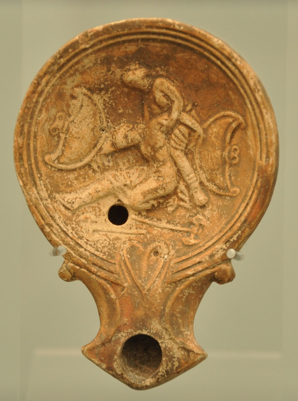 Roman oil lamp with an Amazonomachy