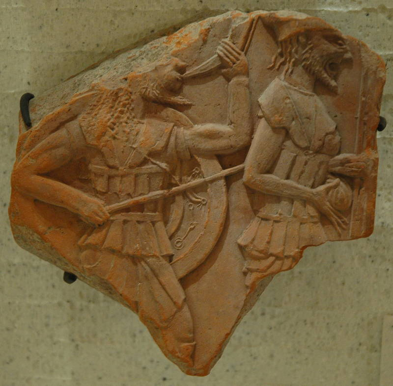 Apollonia, Relief of two hoplites
