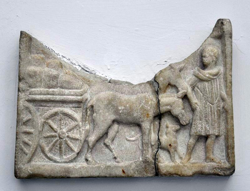 Chios, Roman relief of a donkey pulling a car