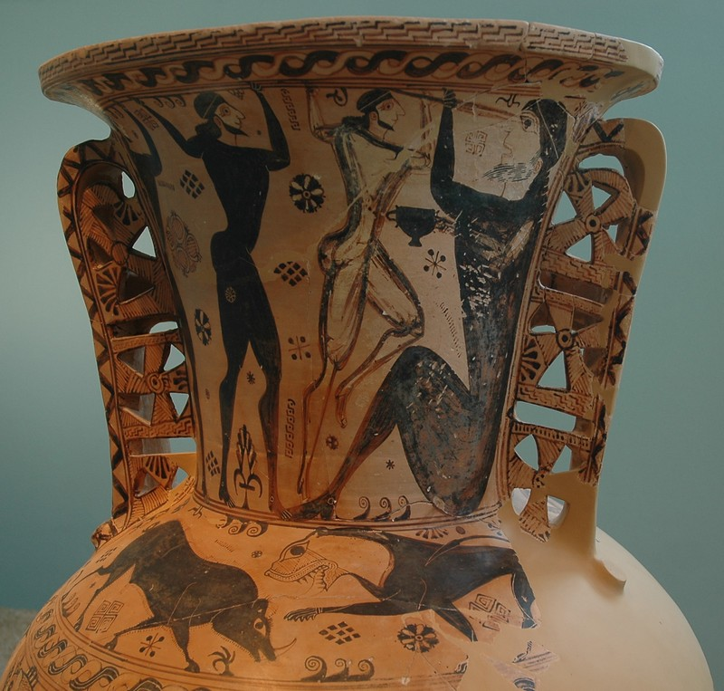 Eleusis, Amphora with Perseus and Odysseus, Cyclops