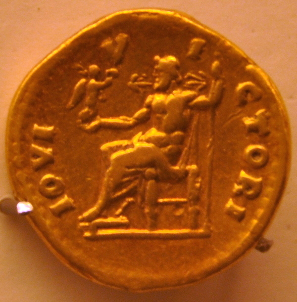 Coin of Hadrian with the Zeus of Phidias