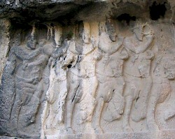 Sasanian noblemen on Relief 2 from Bishapur