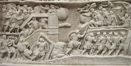 Rome, Forum Romanum, Arch of Severus, Relief west right, model: Capture of Ctesiphon, Detail