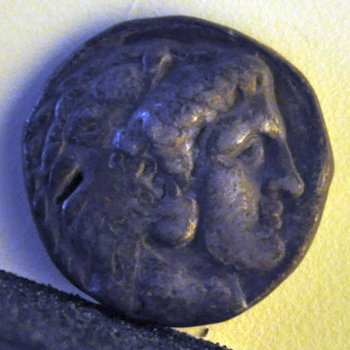 Alexander the Great on a coin of Philip Arrhidaeus