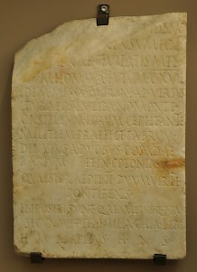 Tombstone of Q. Aemilius Secundus, who conducted Quirinius' census in Apamea in Syria (CIL 03.6687)