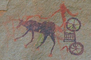 A Garamantian chariot on a rock painting from Tina Nivin.
