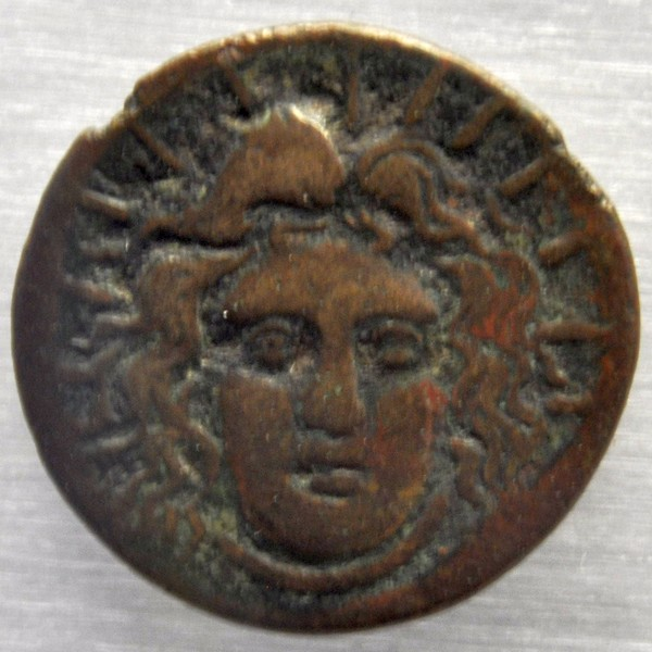 Coin from Rhodes, Helios (88-43 BCE)
