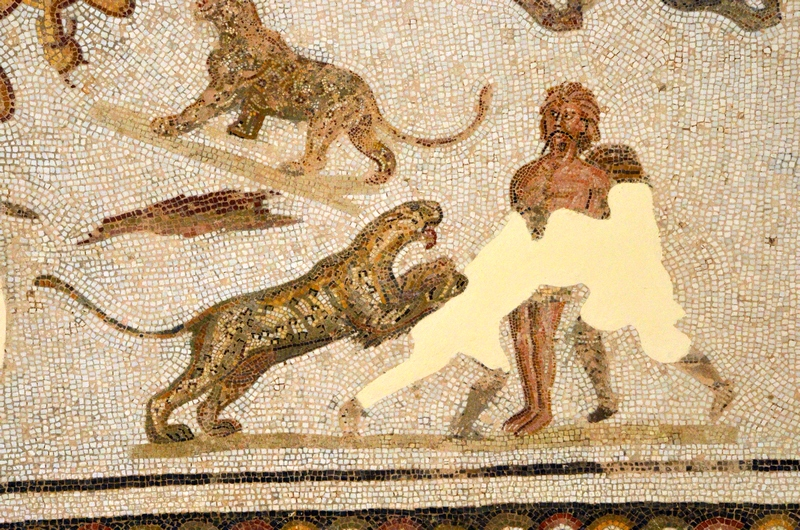 Thysdrus, Sollertian House, Mosaic with the execution of criminals (1)