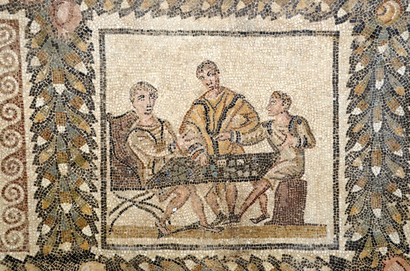 Thysdrus, Sollertian House, Mosaic with dice players
