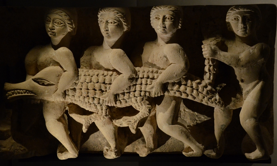 Oxyrhynchus, Relief of four men and a crocodile
