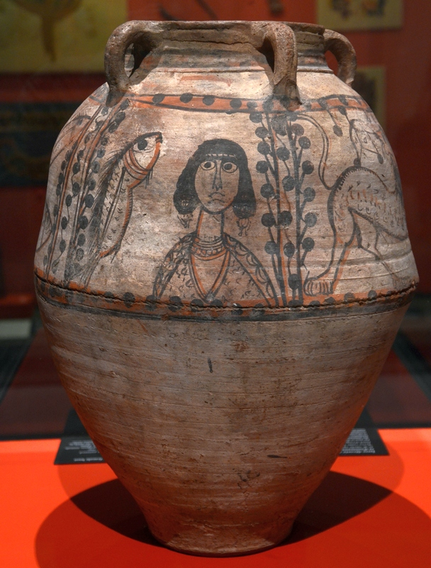 Coptic jar with decoration of a woman with wild animals