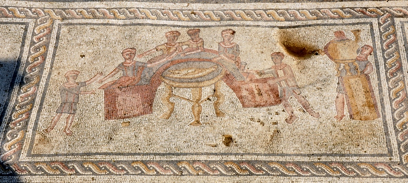 Sepphoris, House of Orpheus, Mosaic with a banquet scene