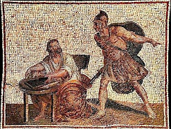 An absent-minded Archimedes being by a Roman soldier