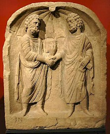Relief showing the two mayors of a Roman town