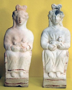 Two statuettes of the Matres (with traces of paint)