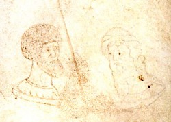 Double portrait of Ptolemy in a medieval manuscript from Bruges