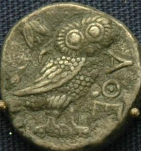 Bactrian imitation of an Athenian coin