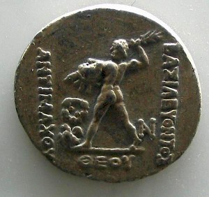 Zeus on a coin of Antimachus I Theos
