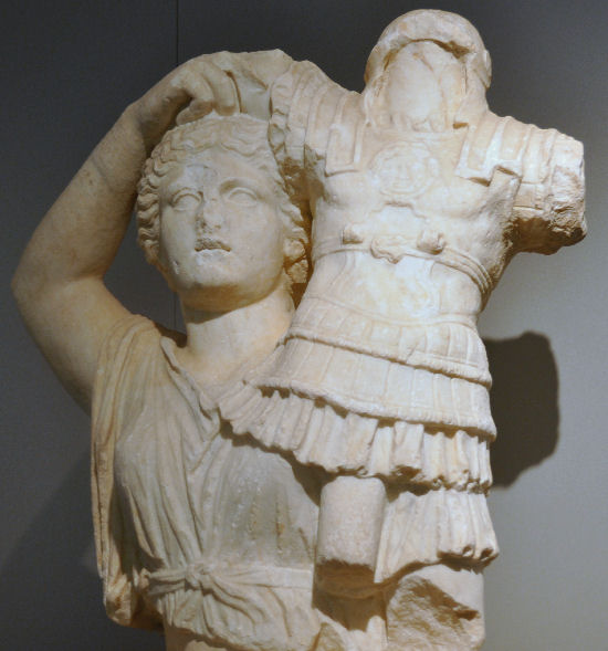 Apollonia, Relief to commemorate the battle of Actium