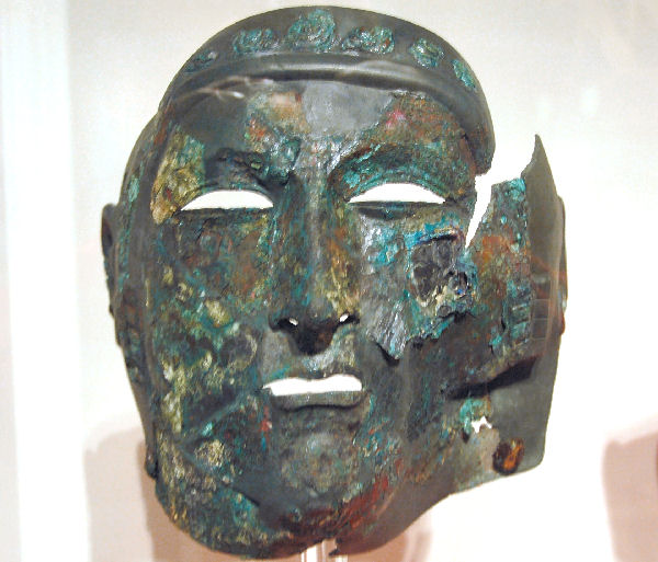 Face mask of a cavalry helmet