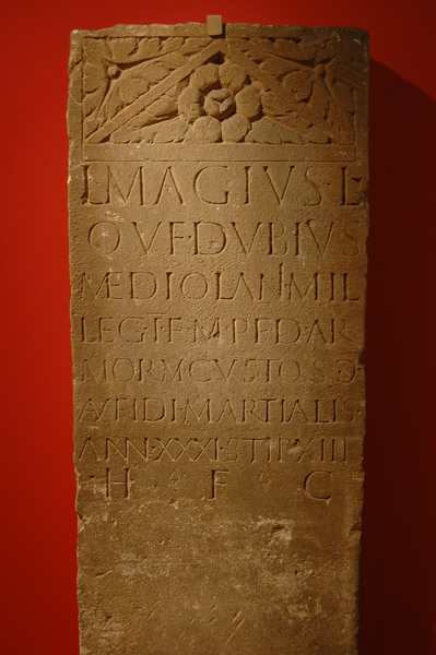 Tomb of L. Magius Dubius, soldier of of I Minervia (CIL 13.8071)