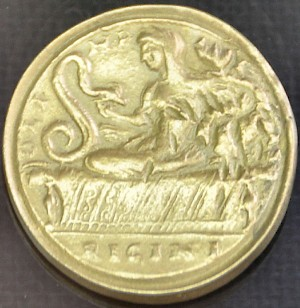Roman contorniate, showing Olympias and her snakes