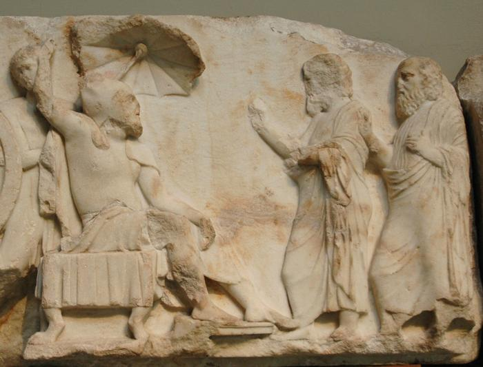 A satrap receives visitors. Nereid Monument, Xanthus