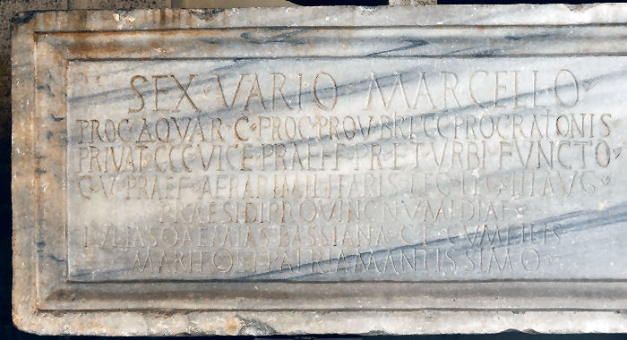 Velitrae, Tomb of Varius Marcellus, Latin inscription