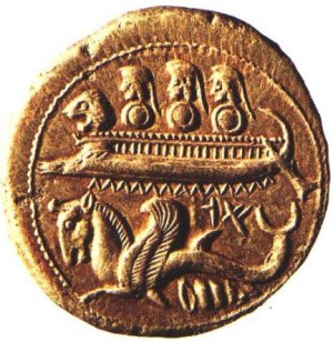 Phoenician coin with warship