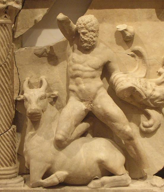 Perge, Heracles sarcophagi 07: Heracles and the Cretan Bull