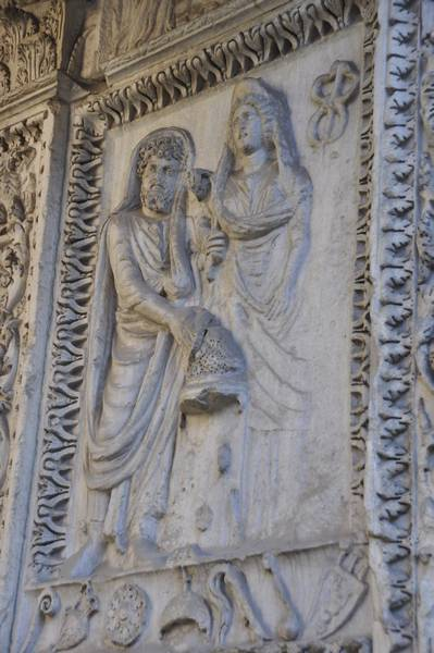 Rome, Arch of the Bankers, Severus, Julia Domna, and an erased Plautianus