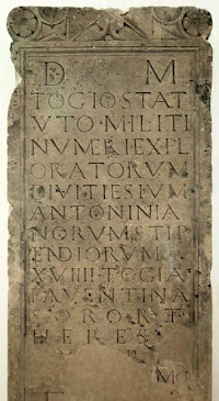 Tombstone of Togius Statutus, explorator in a military unit named after Divitia.