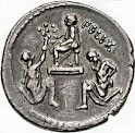 Coin, showing the surrender of Jugurtha (right) by Bocchus (left) to Sulla (seated)